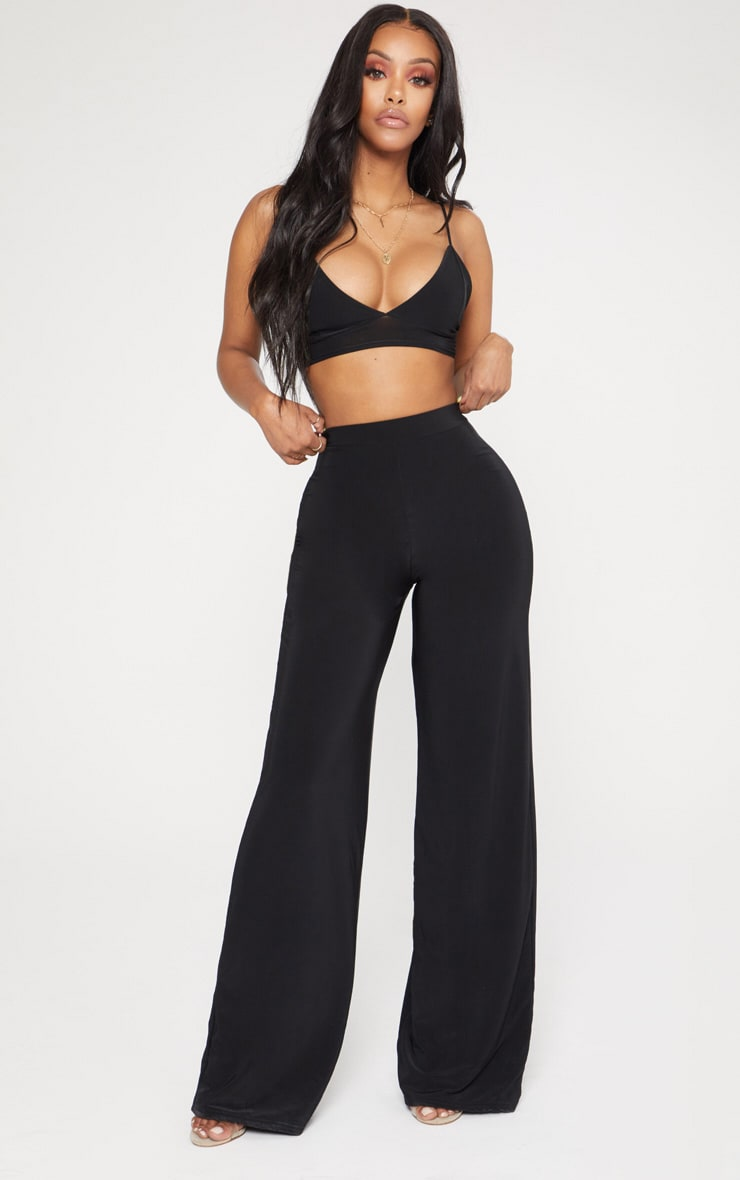 Shape Black Slinky High Waisted Wide Leg Trousers 2