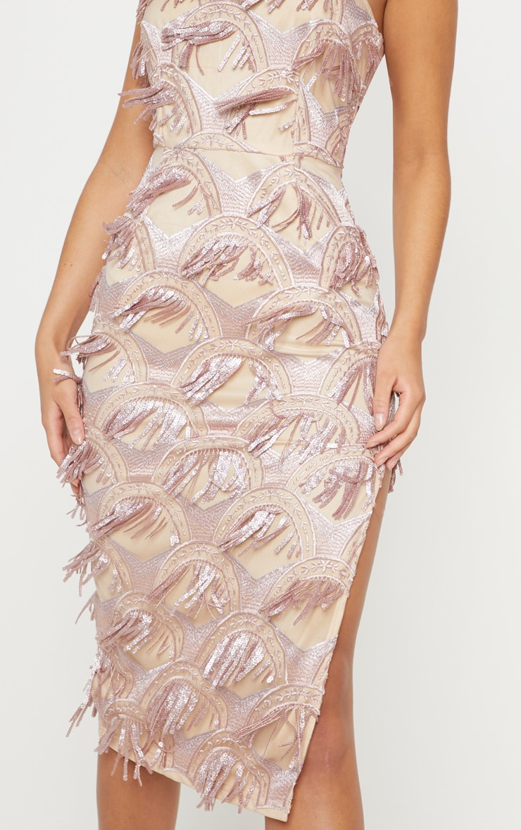 Dusty Pink Tassel Sequin Strappy Midi Dress 5