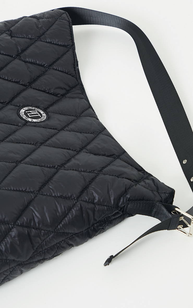 PRETTYLITTLETHING Black Quilted Badge Tote Bag 3
