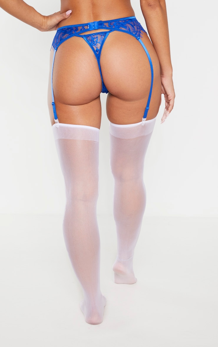 Cobalt Eyelash Lace Suspender 4