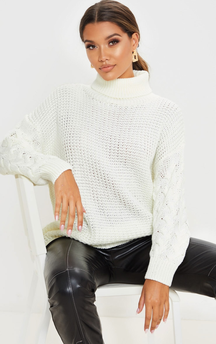 Ivory Chunky Knitted Cable Sleeve Jumper 1