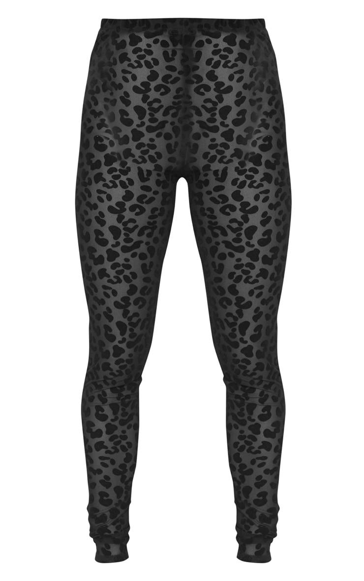 Petite Black Leopard Print Mesh Leggings 6