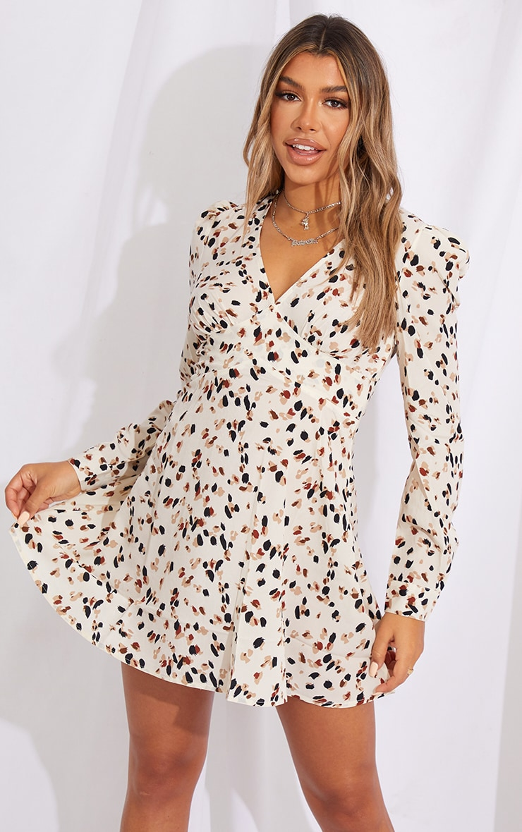 Cream Dalmatian Open Back Detail Shift Dress 1