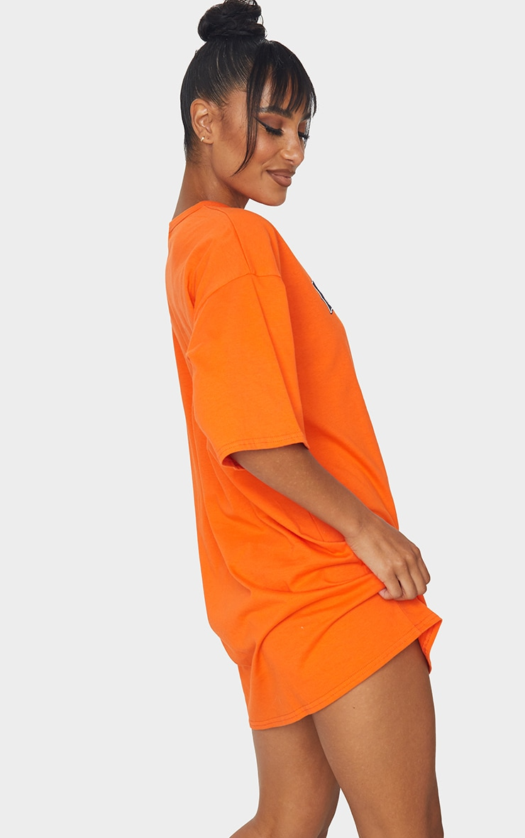 Orange Boston Slogan Oversized T Shirt Dress 2
