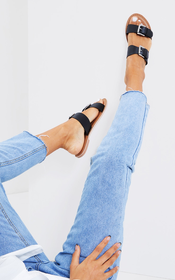 Black Real Leather Buckle Detail Double Strap Mule Sandals 2