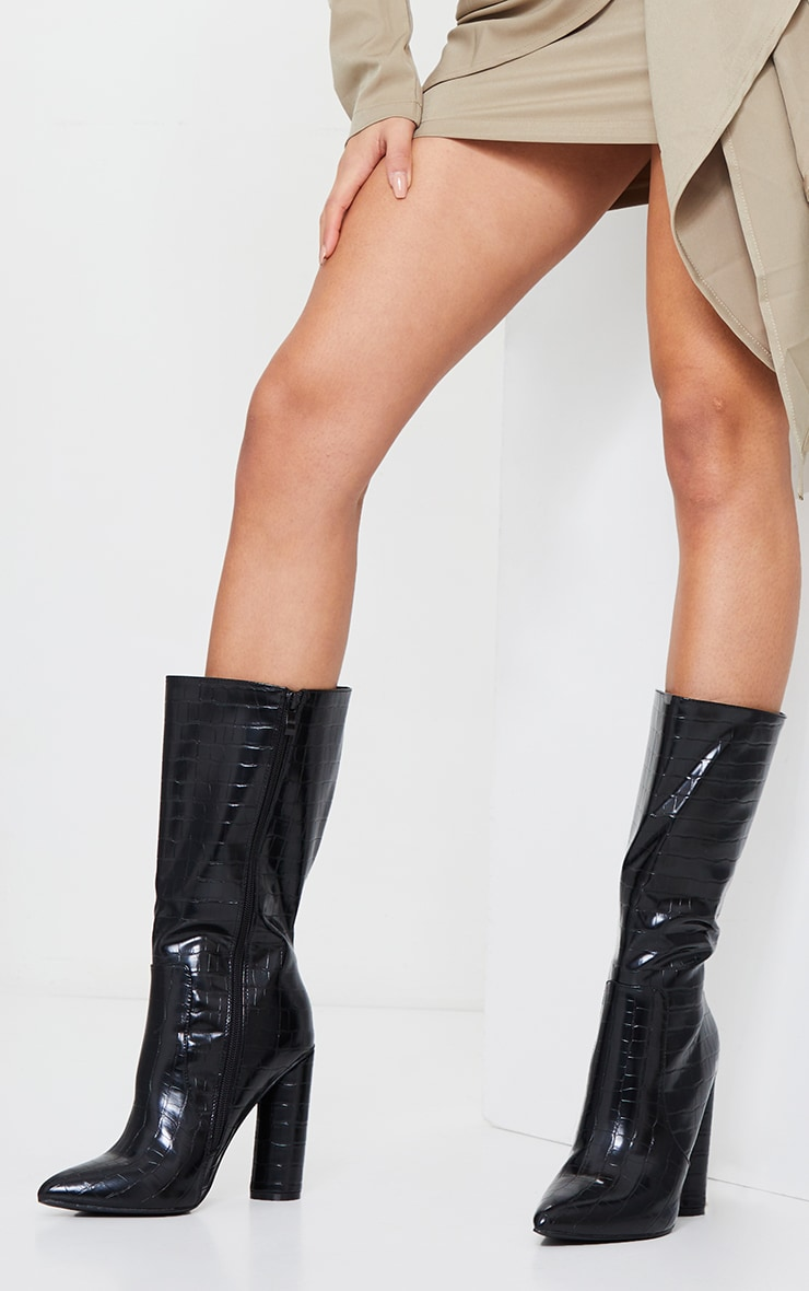 Black Croc Point Toe Round Heel High Calf Boot 1