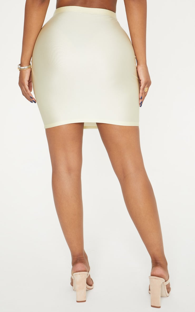 Shape Champagne Slinky Metallic Mini Skirt 4