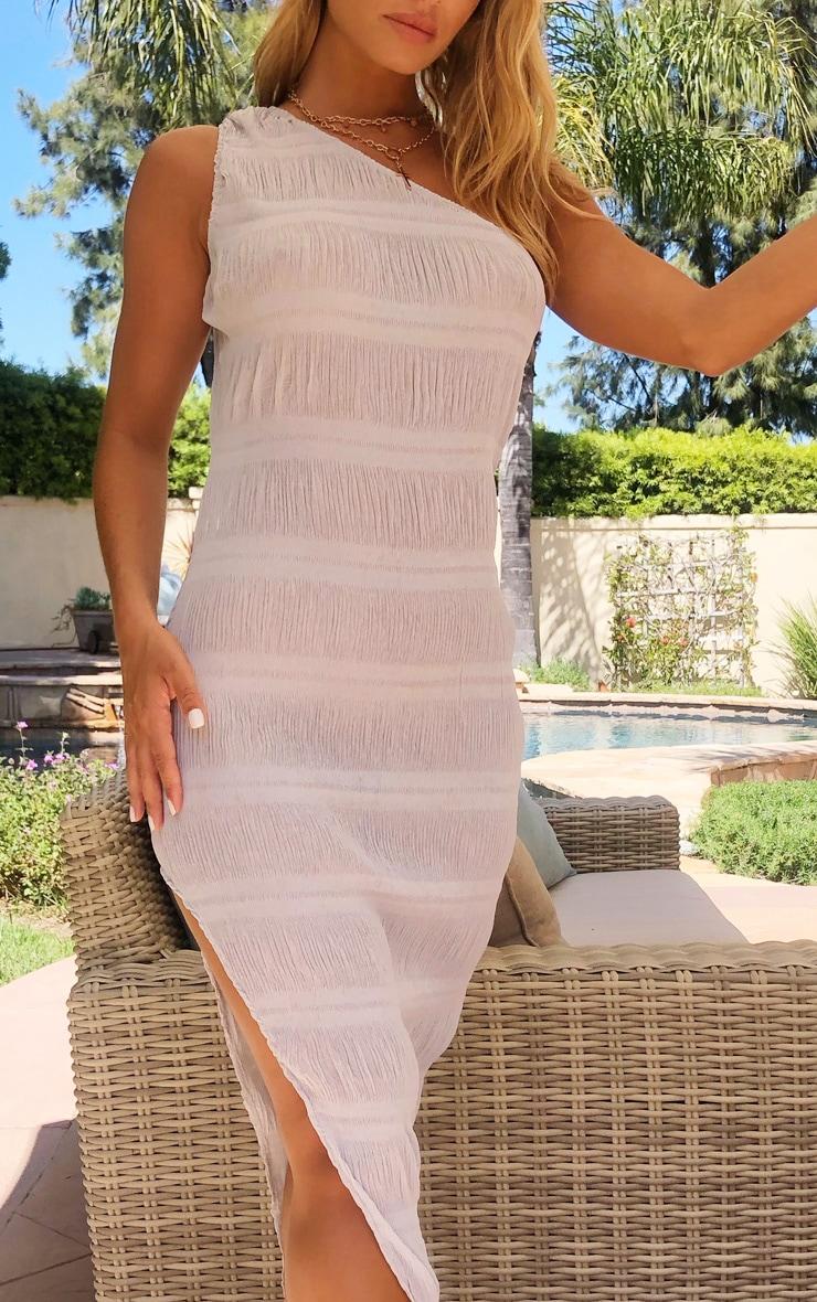 Grey One Shoulder Textured Split Midi Beach Dress 4