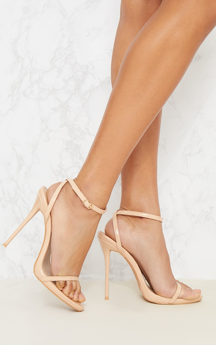 Nude PU Single Strap Stiletto Sandals