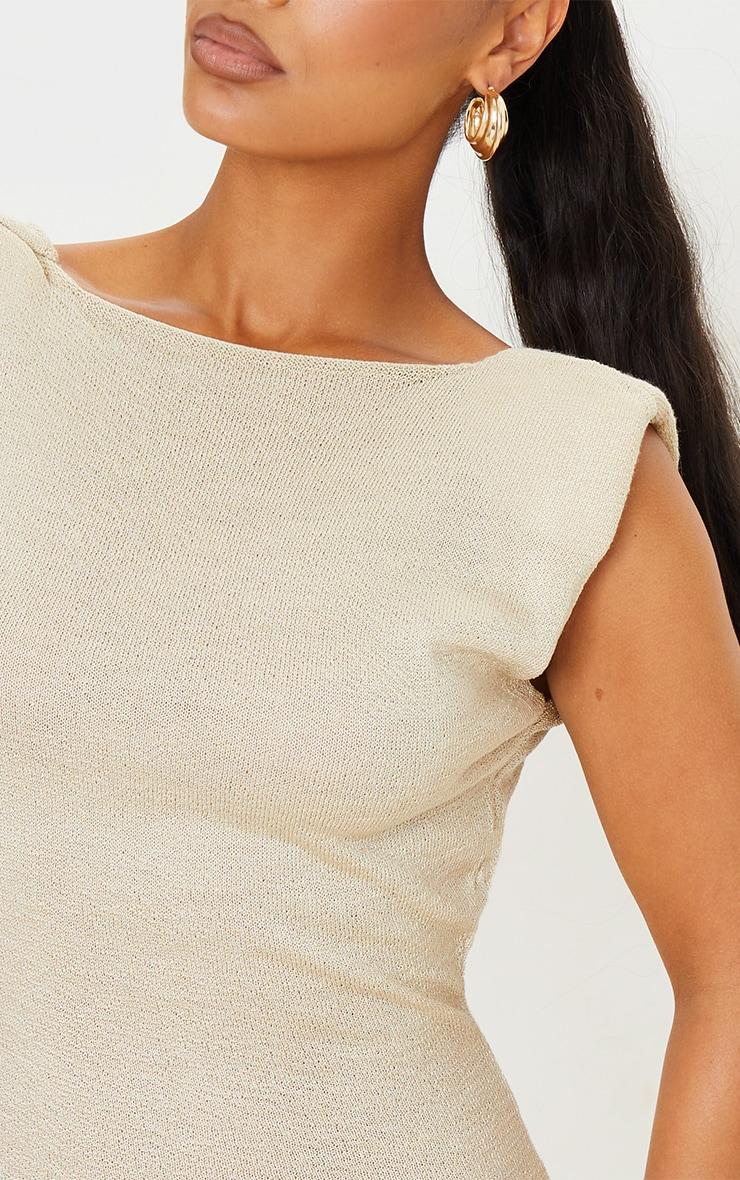 Beige Shoulder Pad Sheer Knit Dress 5