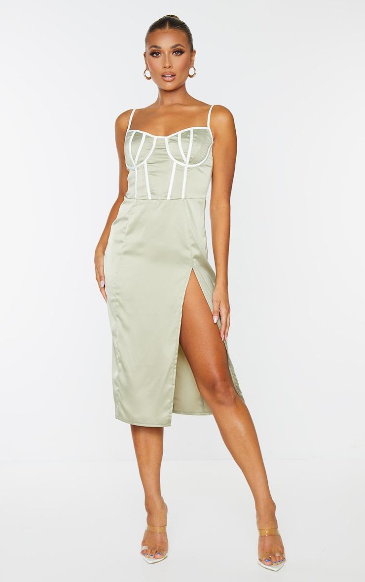 Pale Olive Satin Contrast Binding Detail Strappy Midi Dress 1