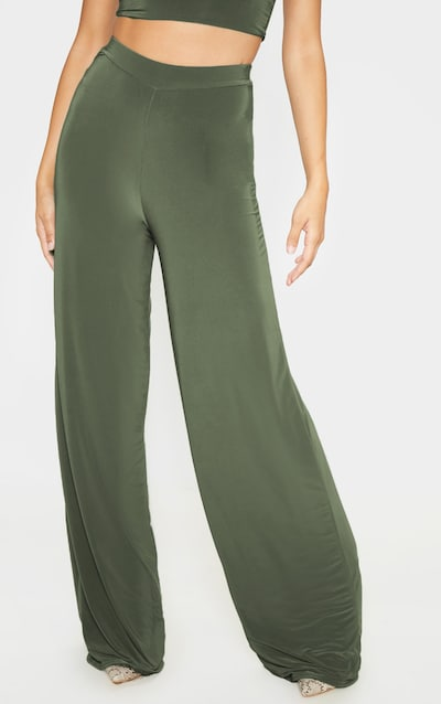 Khaki Slinky Detail Wide Leg Trouser