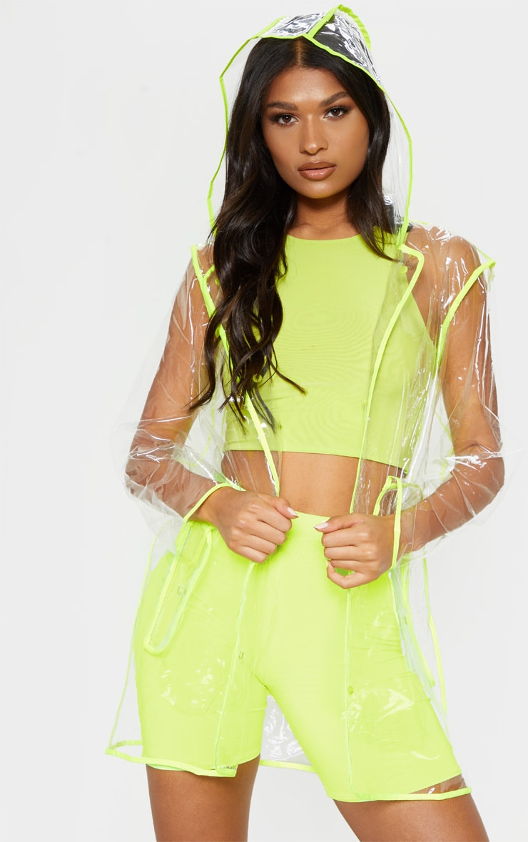Neon Trim Pocket Detail Clear Rain Mac 3