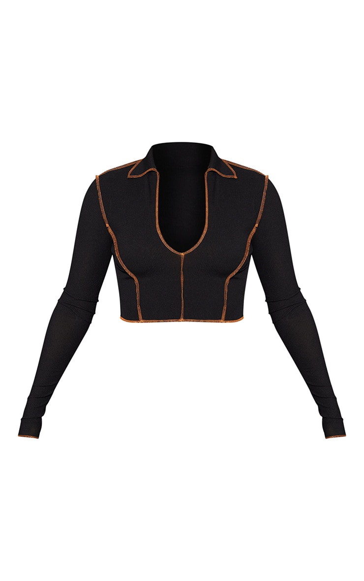 Black Rib Overlock Stitch Detail V Neck Long Sleeve Crop Top 5