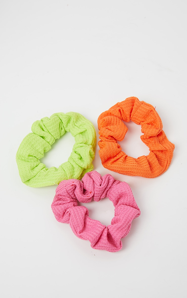 Lot de 3 chouchous - Vert fluo, rose fluo, orange fluo 3