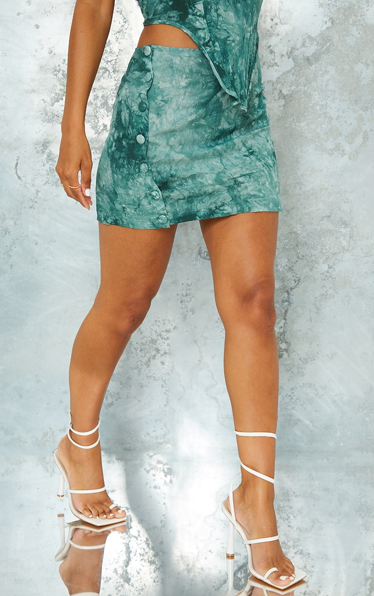 Teal Tie Dye Printed Woven Button Front Mini Skirt 2