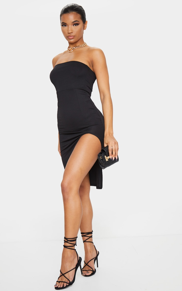 Black Crepe Bandeau Split Front Midi Dress 3