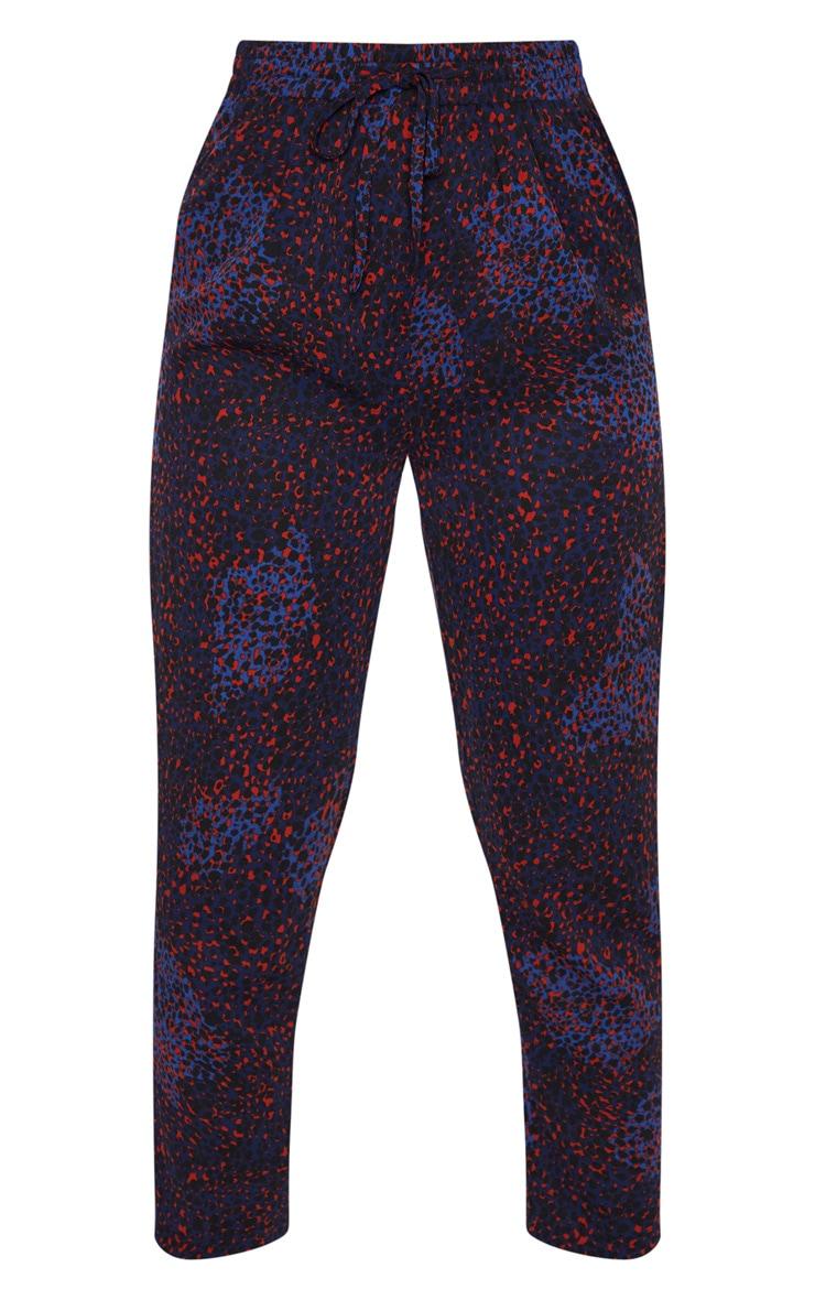 Navy Leopard Print Cigarette Pants 3