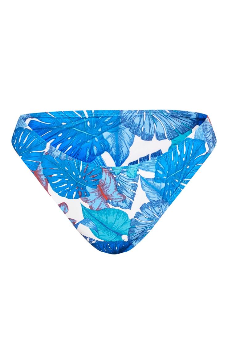 Plus Blue Palm High Leg Bikini Bottom  5