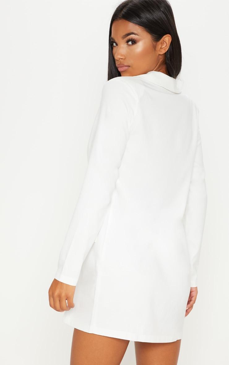 White Asymmetric Hem Oversized Blazer Dress 2