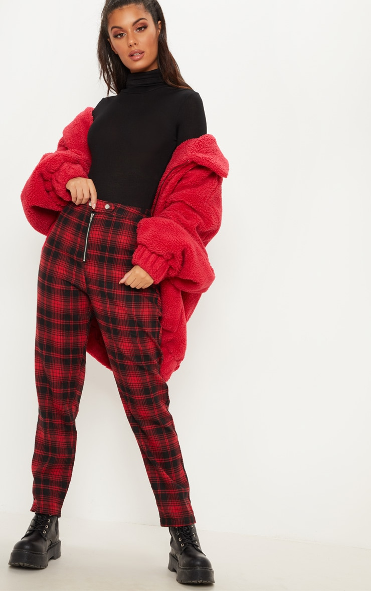 Red Check Zip Front Trouser