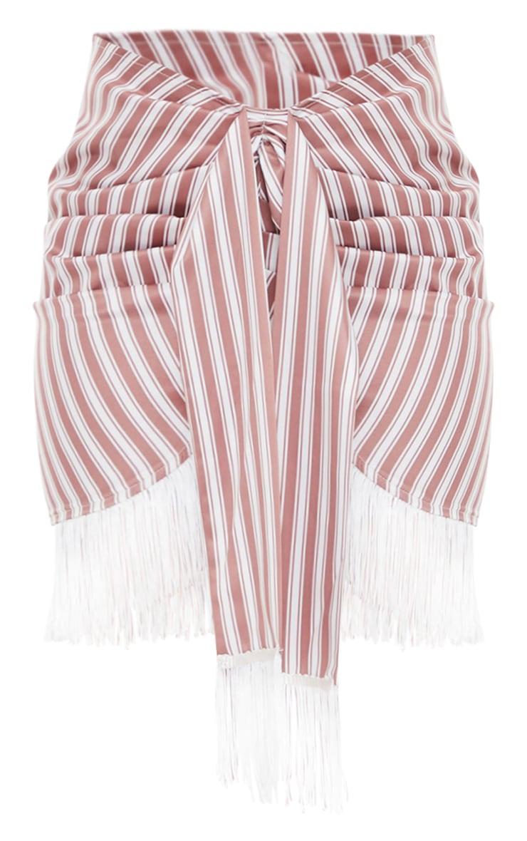 Clay Stripe Tassel Hem Mini Skirt 6