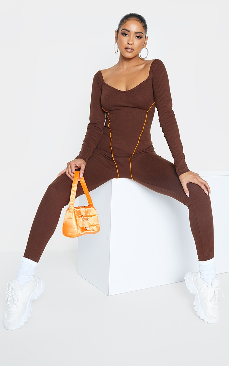 Chocolate Thick Rib Contrast Seam Detail Jumpsuit 1