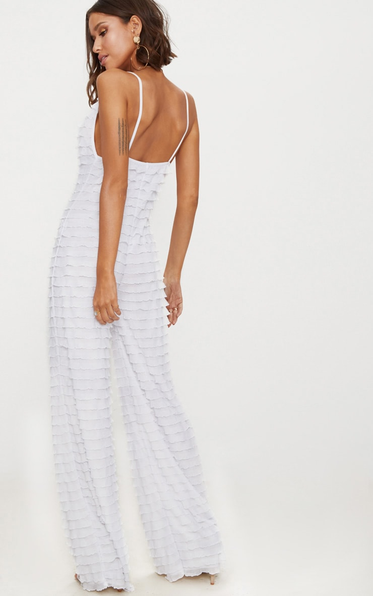 White Frill Strappy Plunge Jumpsuit 2