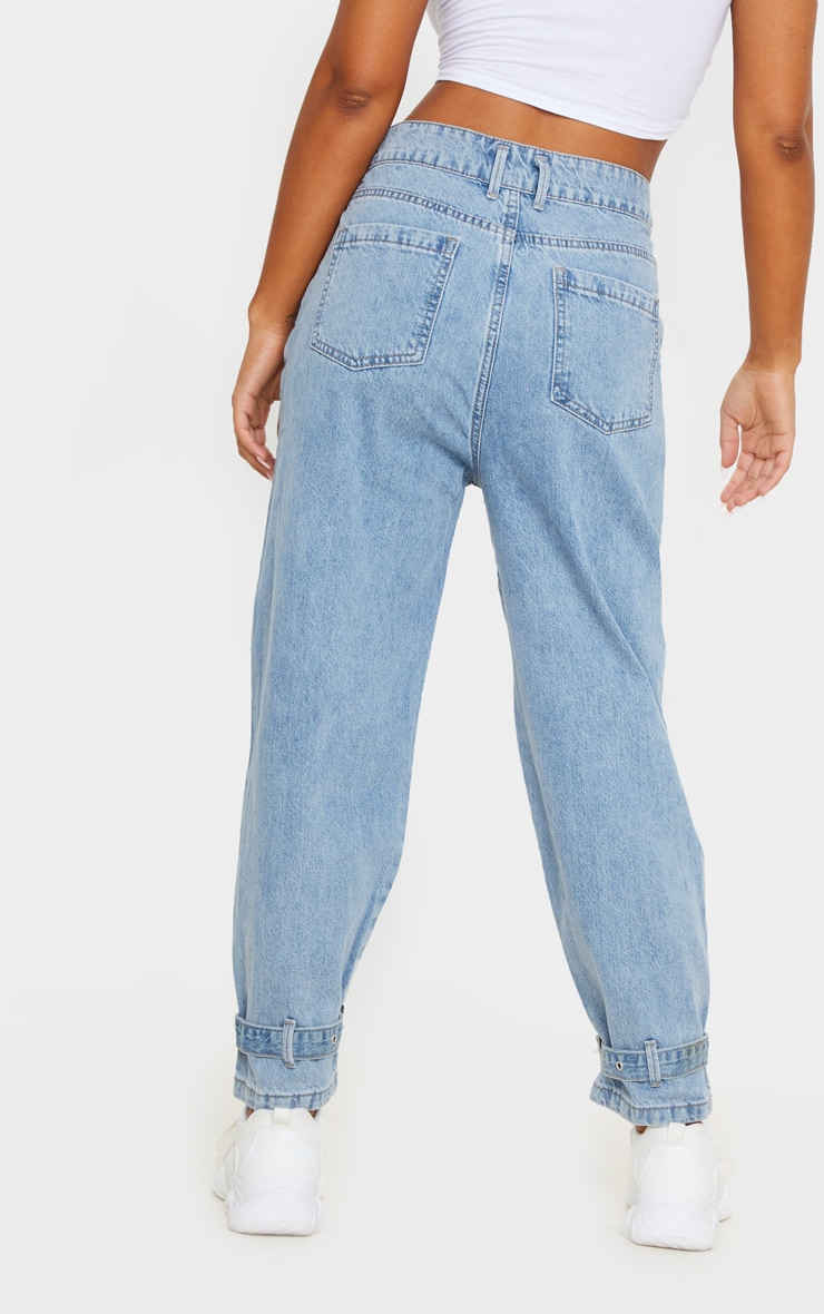 Mid Blue Wash Ankle Buckle Denim Jeans 3