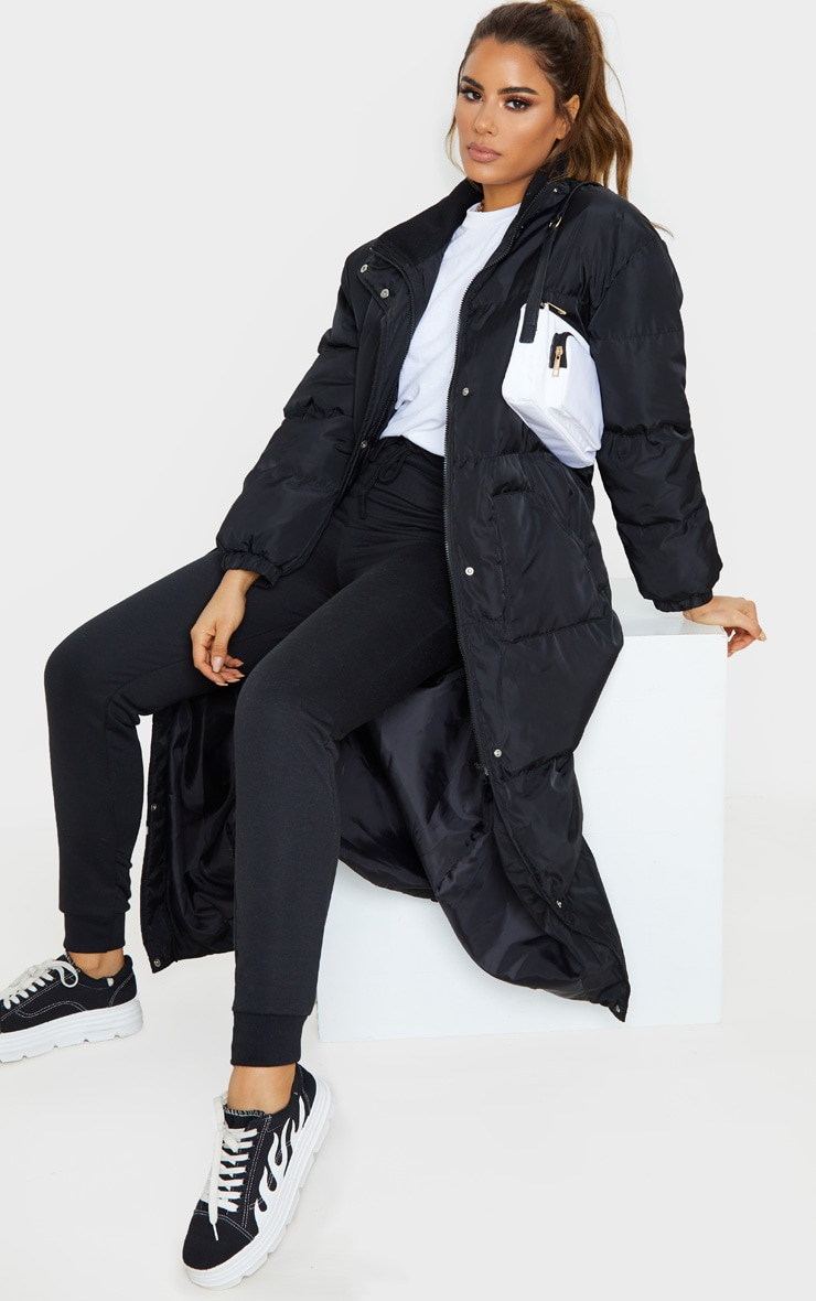 Tall Black Longline Puffer Coat 4