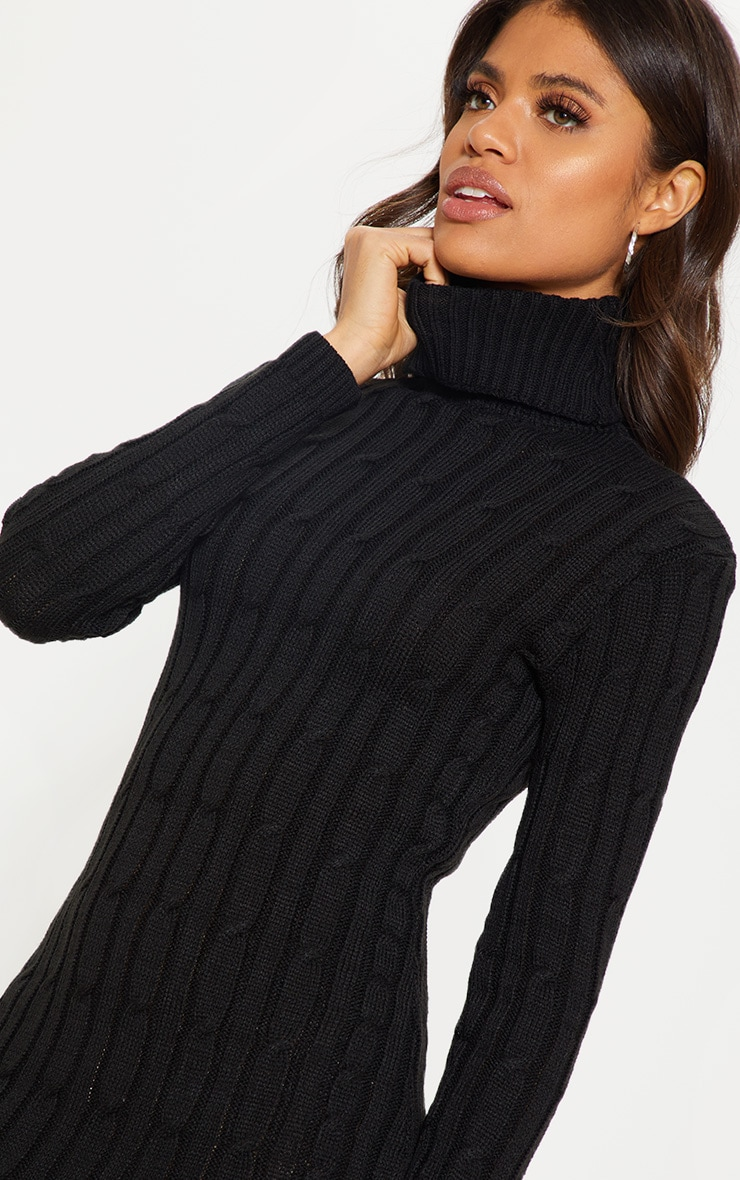 Black Cable Knitted Long Sleeve Dress 5