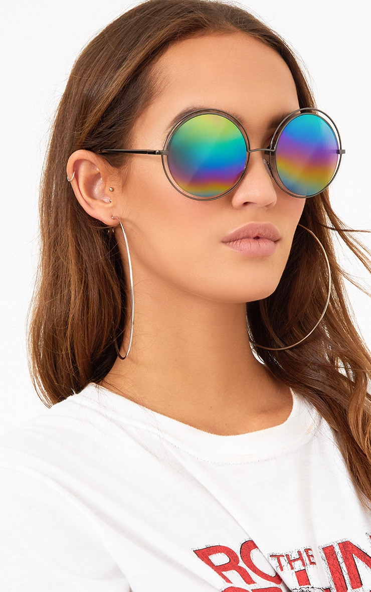 Rainbow Lens Doubled Frame Round Sunglasses 1