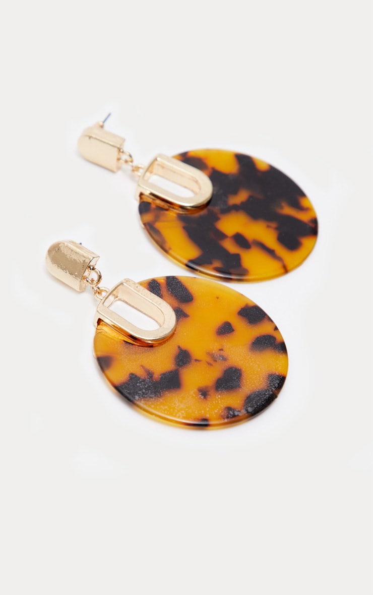 Brown Tortoiseshell Resin Disc Drop Earrings 2