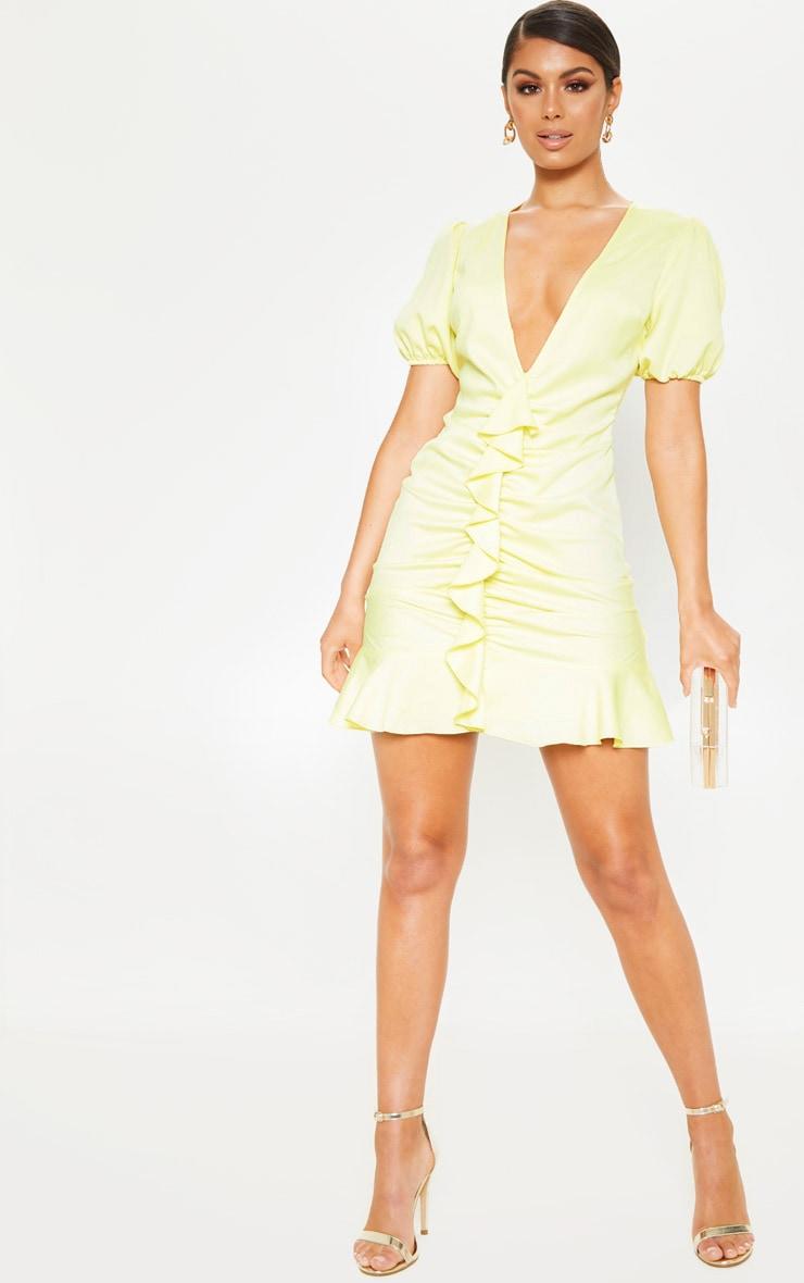 Pastel Lemon Satin Puff Sleeve Frill Bodycon Dress