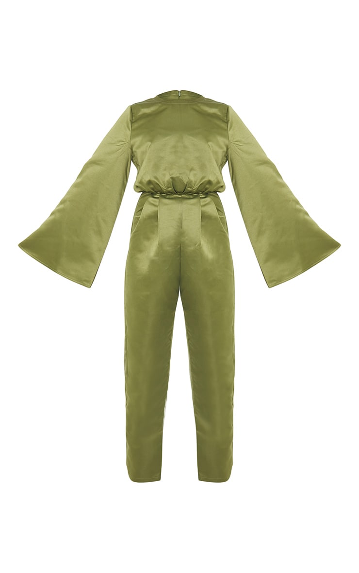 Khaki Satin Flare Sleeve Wide Leg Jumpsuit 5