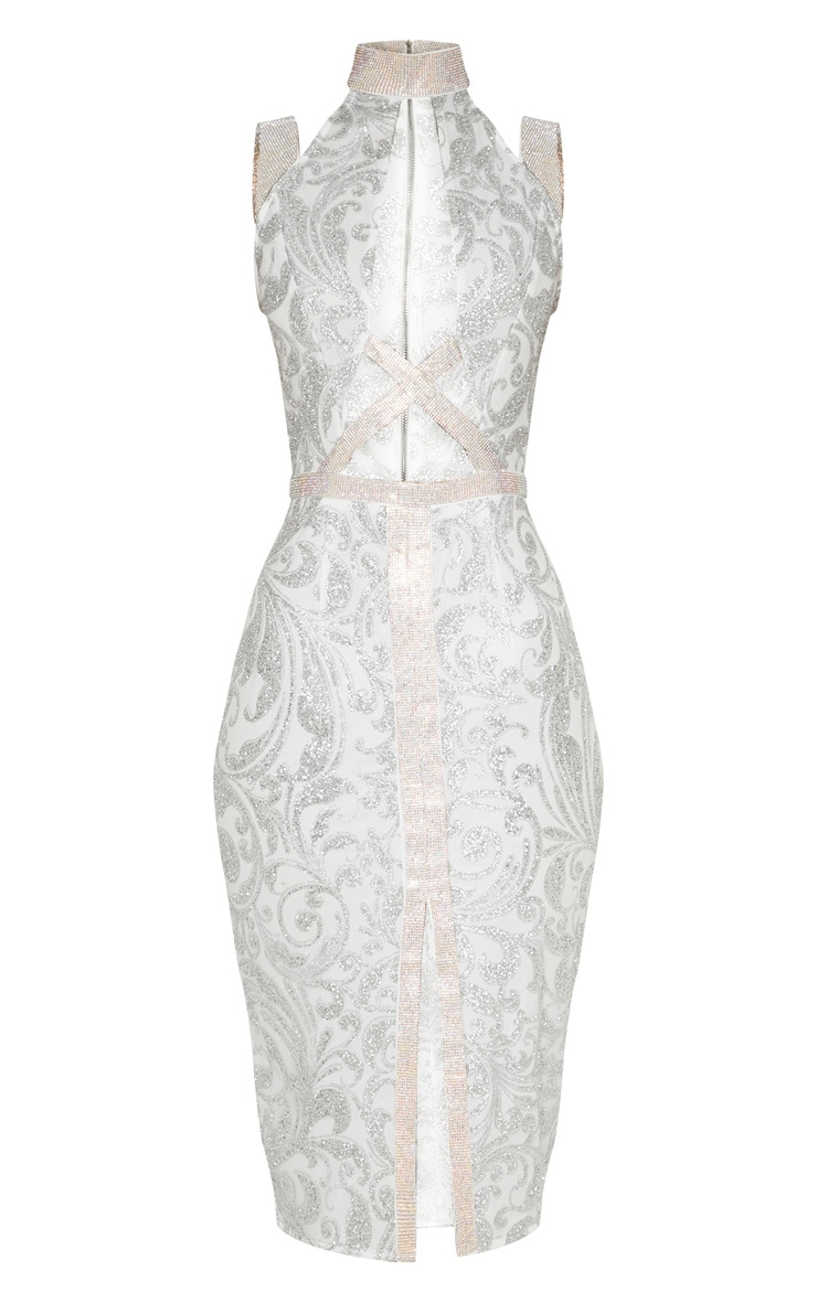 Silver Embellished Insert Glitter Midi Dress 3