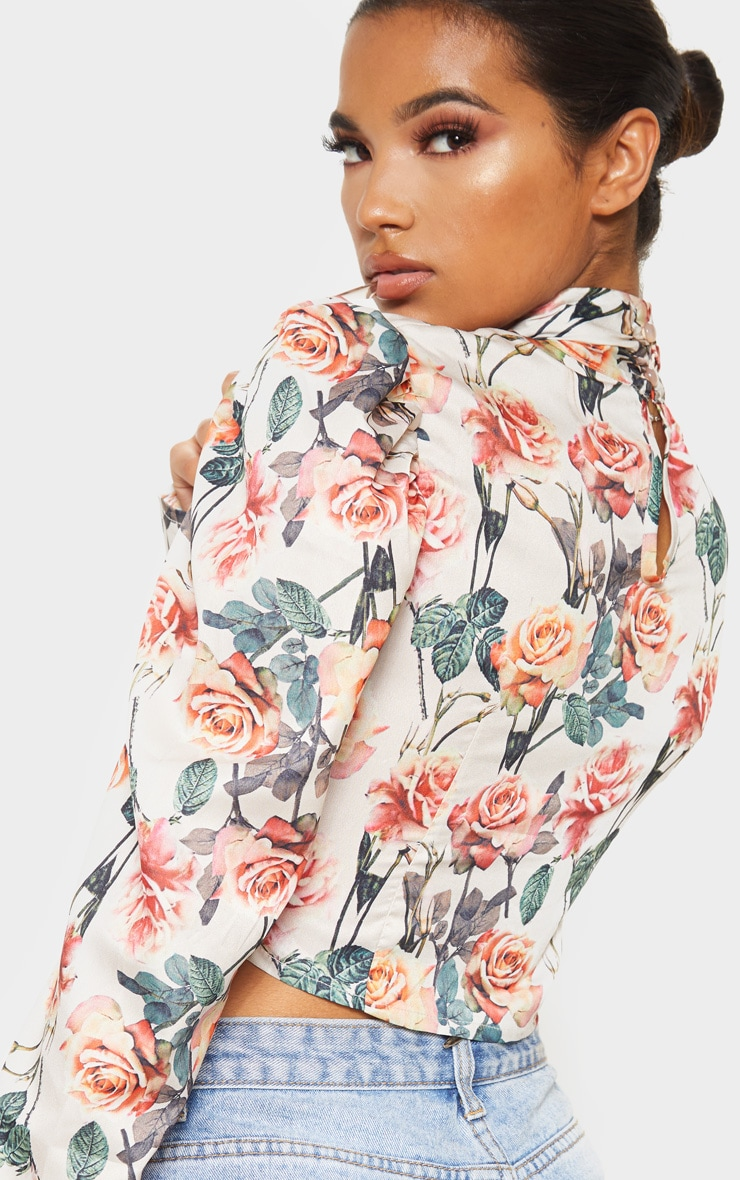 White Floral Printed Ruched High Neck Top 6