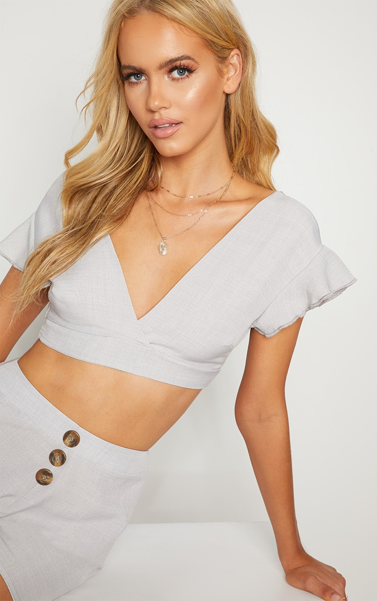 Grey Plunge Frill Sleeve Crop Blouse