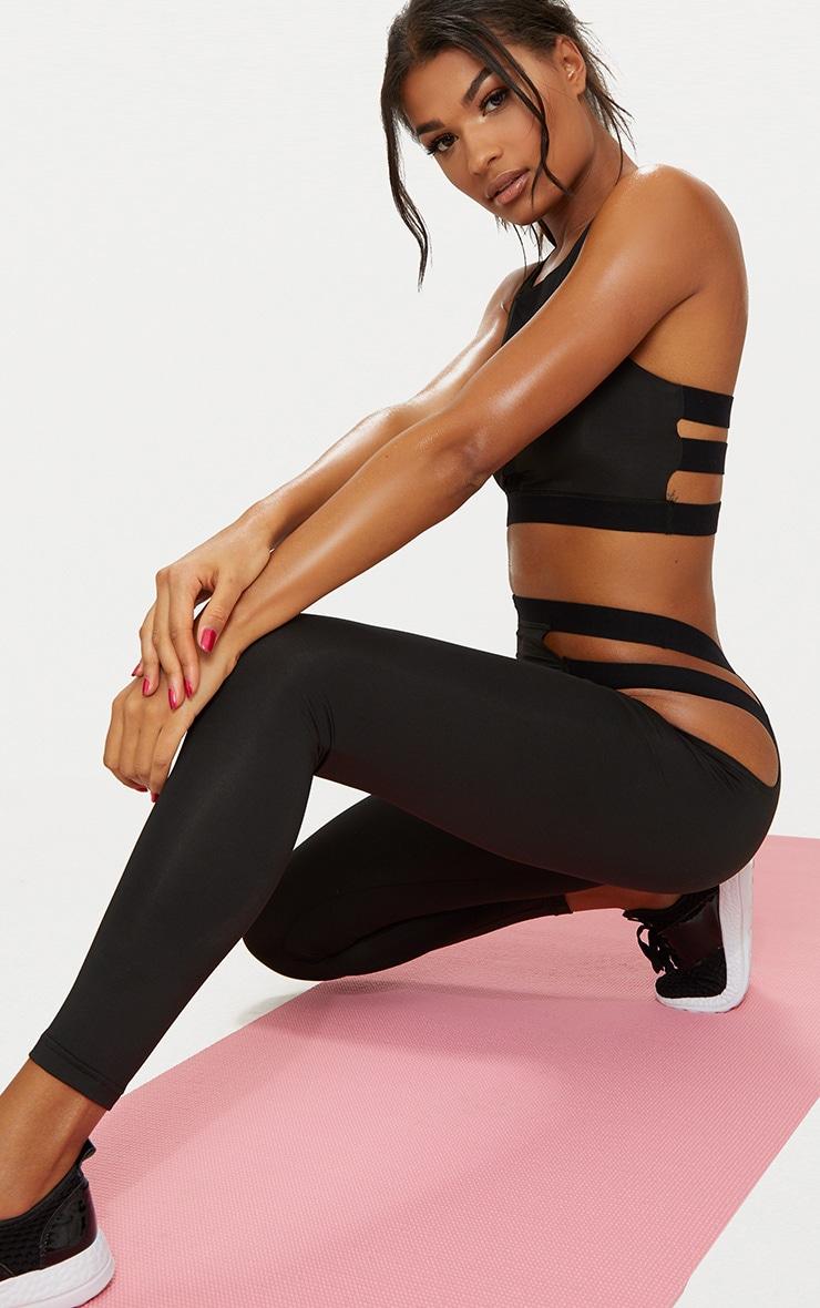 Black Strap Detail Sports Leggings 1