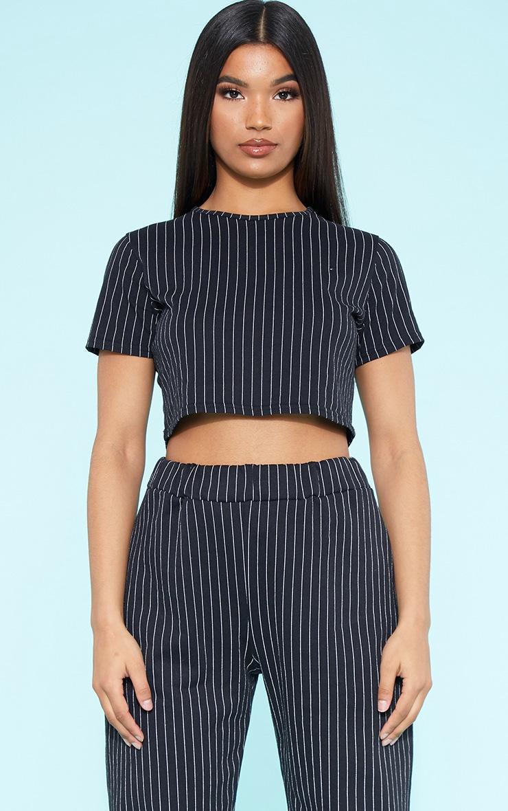 RECYCLED Pinstripe Crop T Shirt Black  1