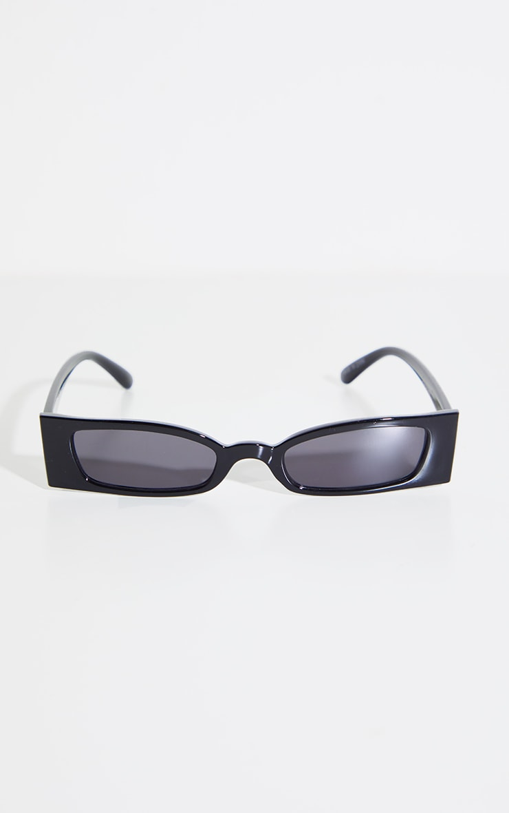 Black Rectangle Slim Sunglasses 2