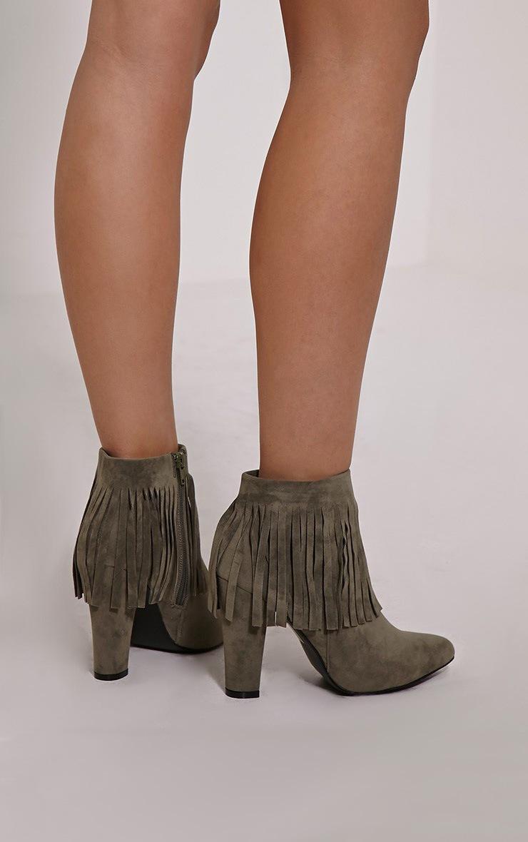 Ribah Khaki Tassel Ankle Boots 2