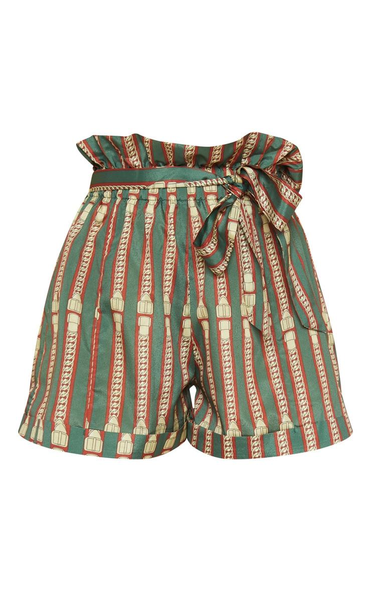Khaki Chain Print Turn Up Hem Tie Waist Short 3
