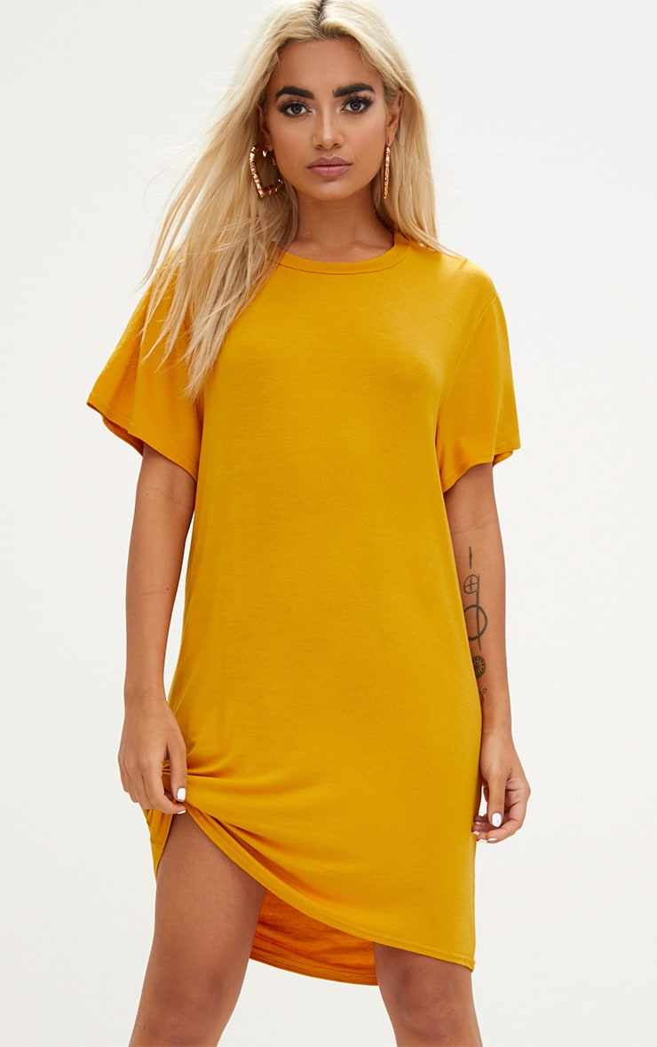 Basic Mustard Short Sleeve Tshirt Dress 1