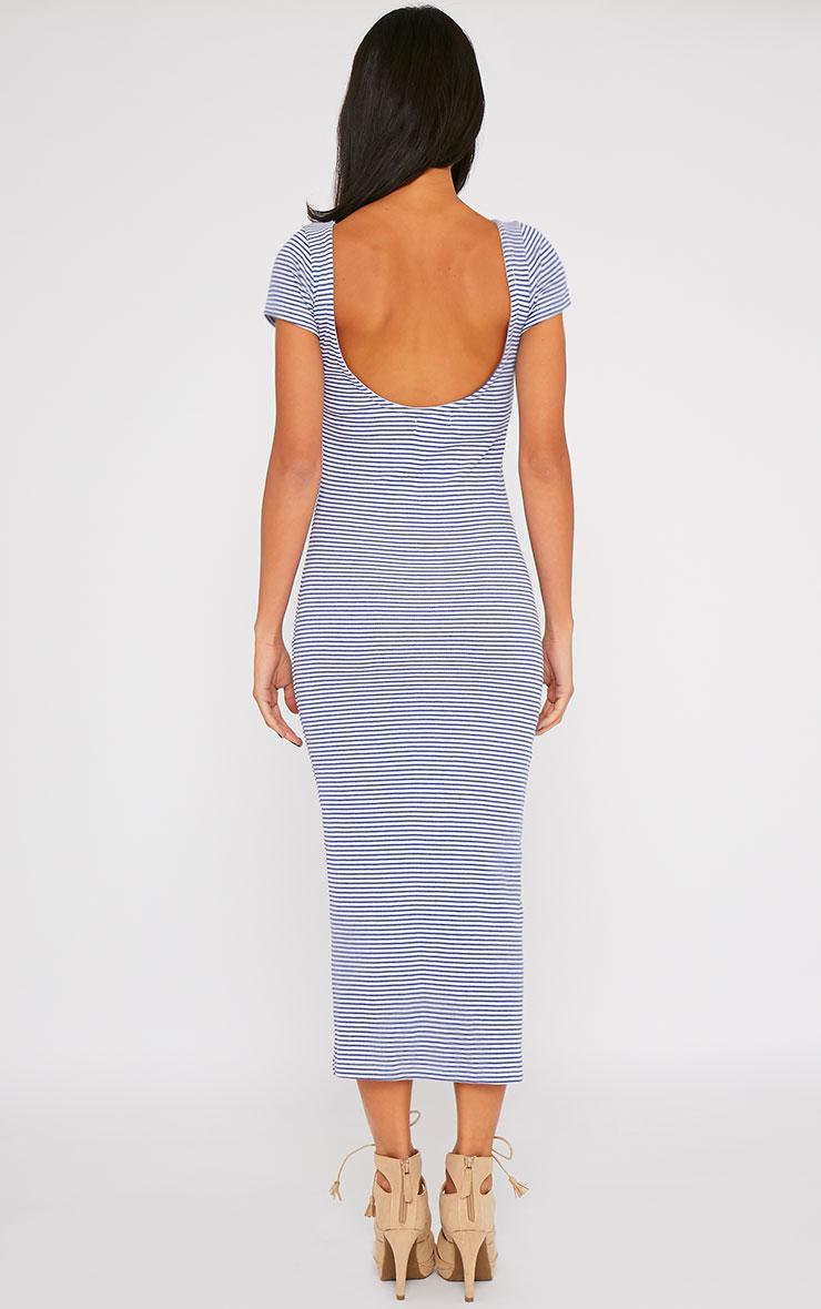 Suzie Blue Ribbed Jersey Stripe Print Maxi Dress 2