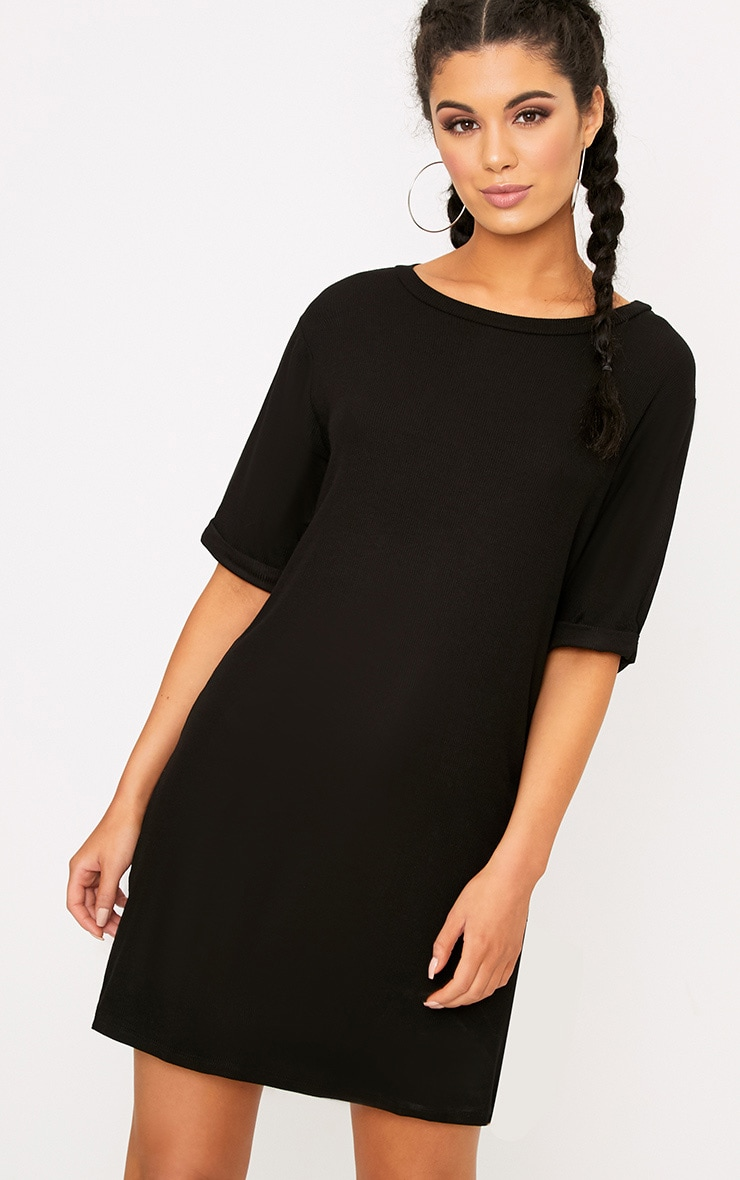 Kannah Black Ribbed Roll Sleeve Oversized T Shirt Dress  1