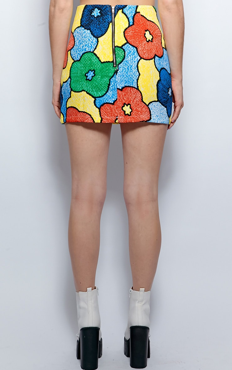 Abby Blue Floral Print A Line Skirt 2