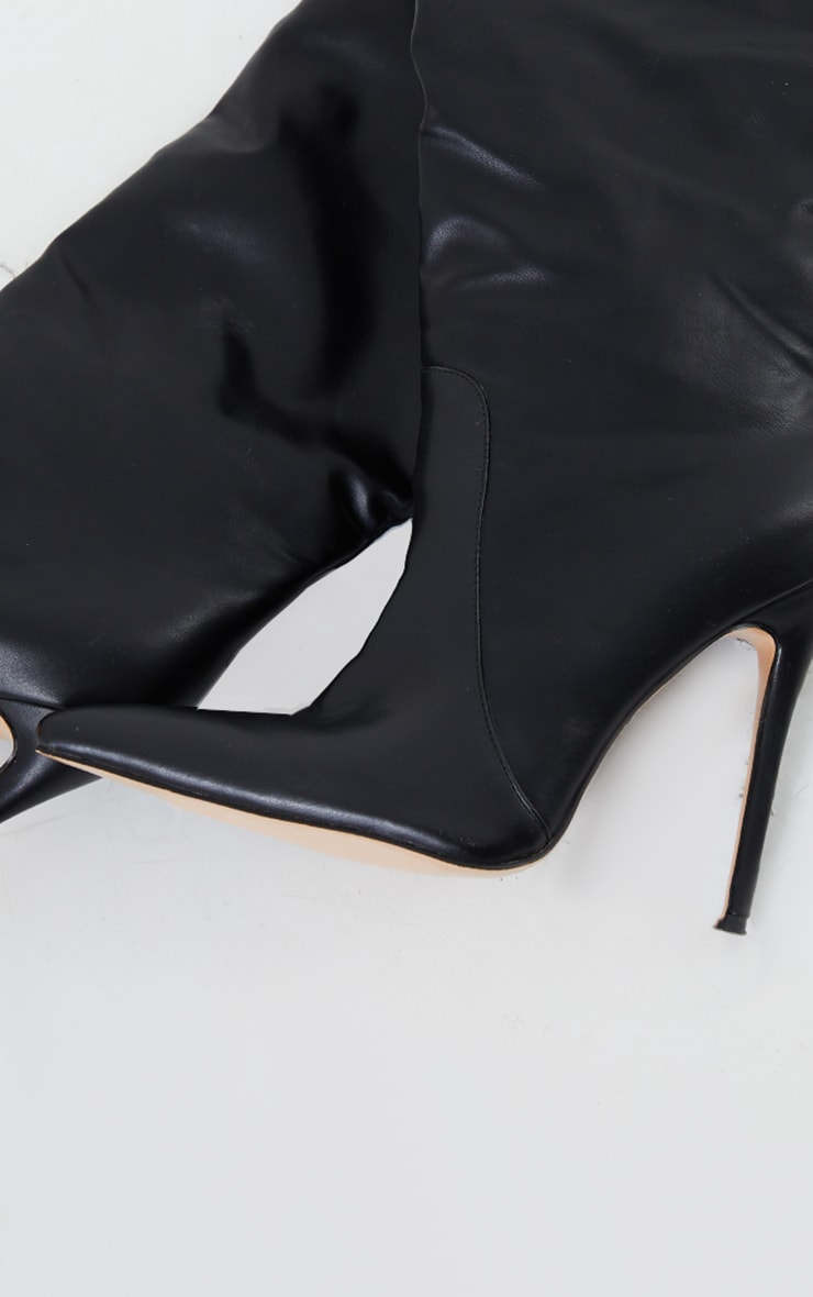 Black Matte PU Calf Stiletto Heeled Boots 3