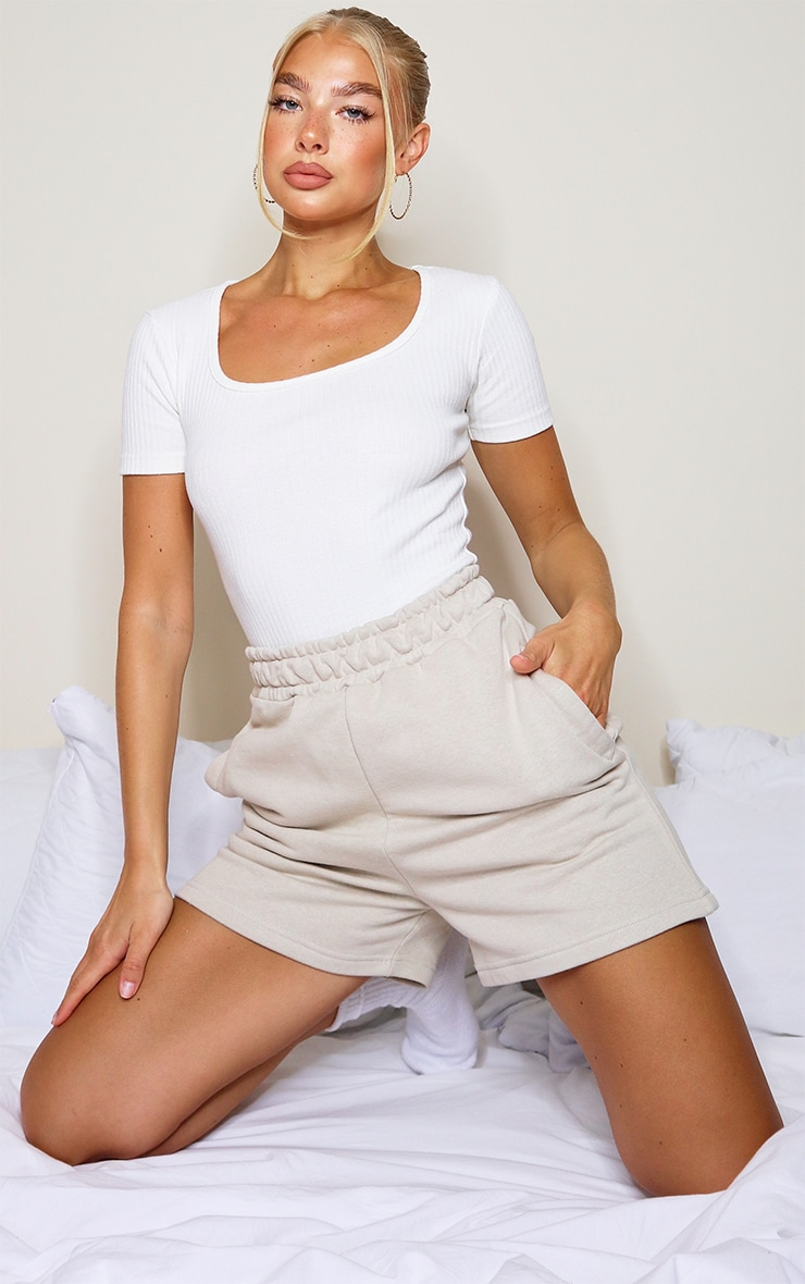 Cream Structured Rib Short Sleeve Bodysuit 3