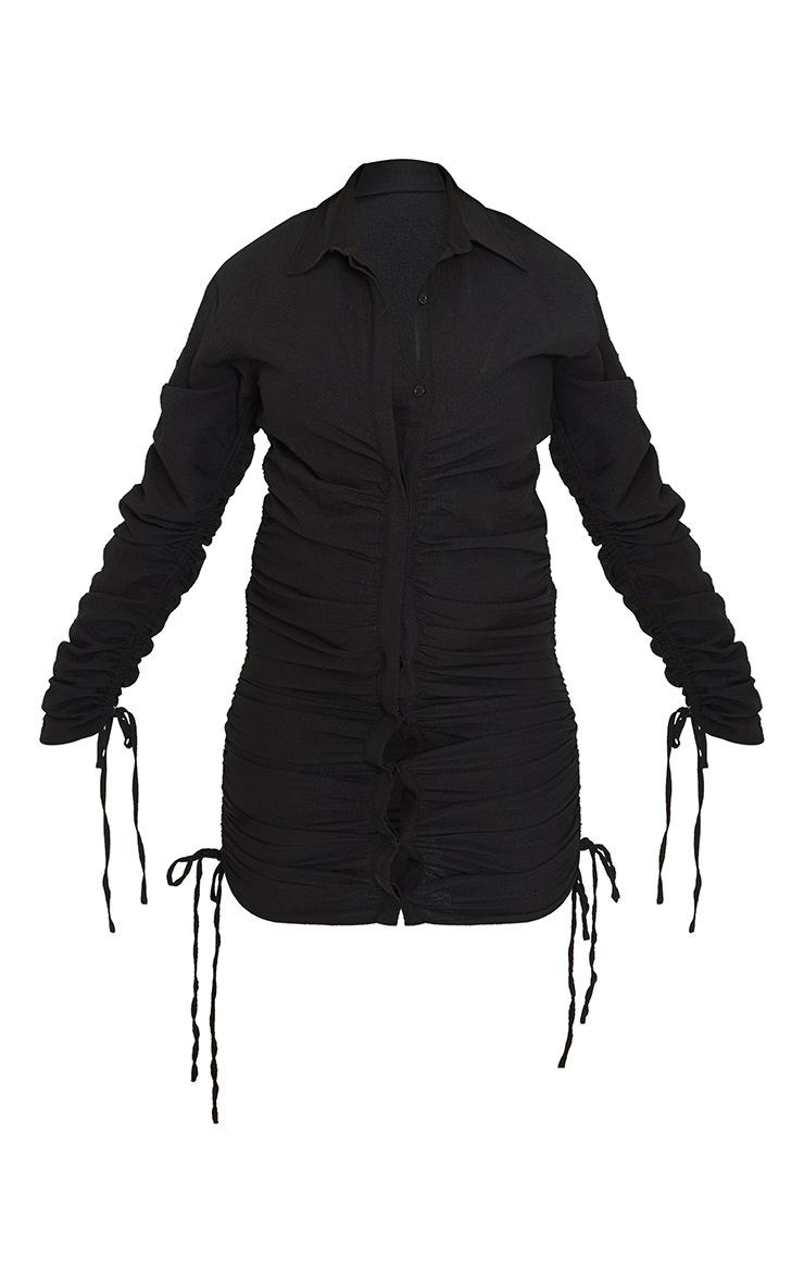 Maternity Black Textured Woven Ruched Bump Long Sleeve Shirt Dress 5